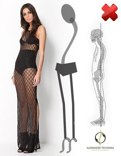 Egy modell - testtartása nagyon előnytelen, csípőjét előre tolt pozicióban