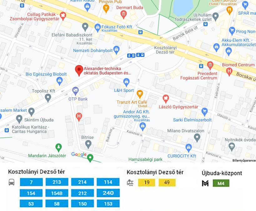 Tömegközlekedési megközelíthetősége az Alexander-technika oktatásoknak
